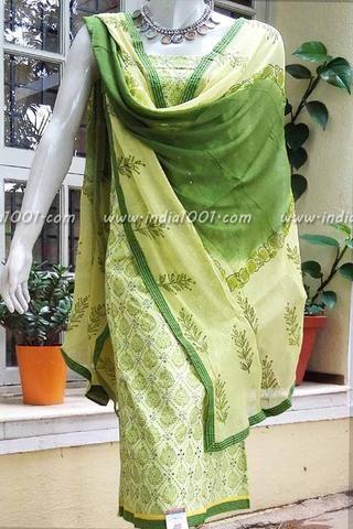 Designer Block Printed Cotton Unstitched Suit fabric