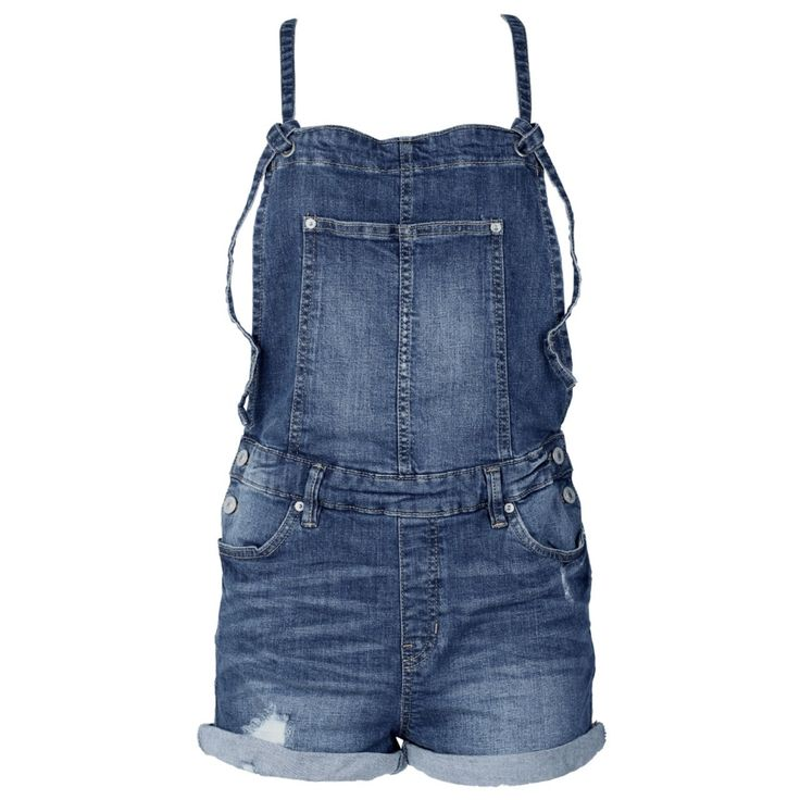 #Damen Tom Tailor Denim Latzshorts Vintage Shortall Indigo dark blue destroyed, 04059066488044