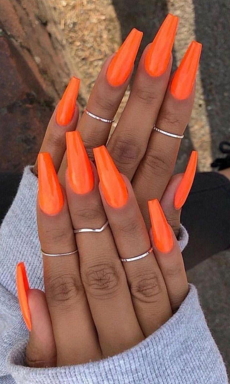 Bright Orange Coffin Nails Orange Acrylic Nails Orange Nails Summer Nails Colors