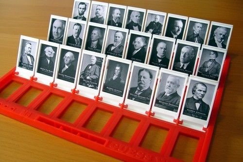 cool way to help kids study important people, i.e. presidents.  Why have I never thought of this?  You could make your own guess who of whatever!