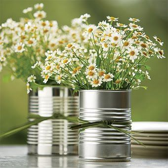 Summer Party Ideas | Tin Can Flower Power | Inexpensive Floral Designs for Table Settings