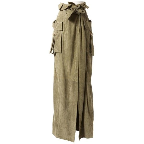 Pre-owned Balmain Leather Maxi Skirt ($525) ❤ liked on Polyvore featuring skirts, khaki, brown leather skirts, long khaki skirt, long leather skirt, ankle length skirts and leather maxi skirt