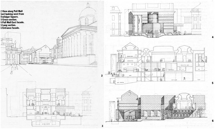 James Stirling, National Gallery Extension competition entry.
