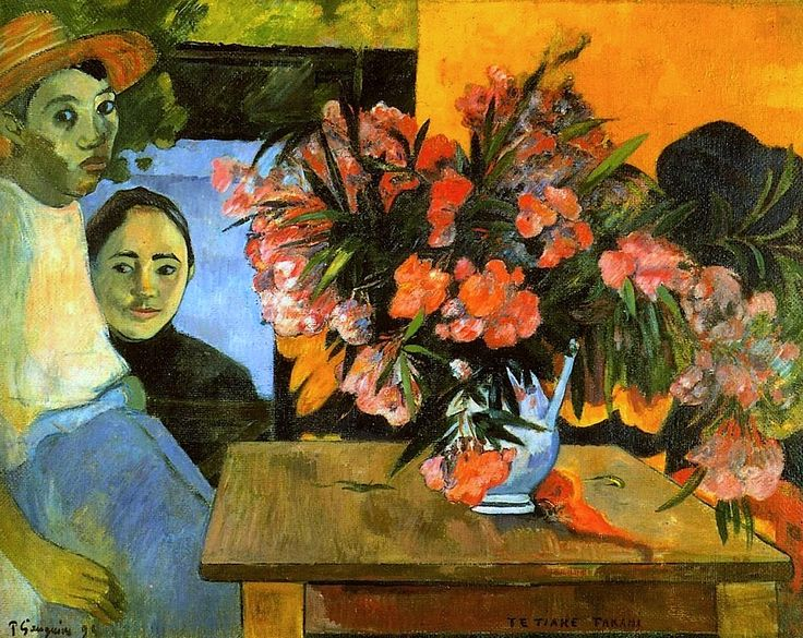 Flowers of France - Paul Gauguin. 1891 Pushkin Museum, Moscow. Gauguin's experience in Tahiti altered his way of interpreting color and light. He tried new shades and hues, positioned in a seemingly random way, that brought out the true radiance of the subject.