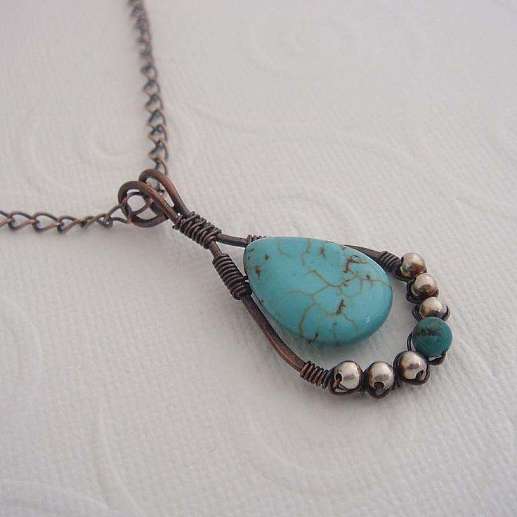 Karita wire wrapped necklace in copper and turquoise | jewelry ideas ...