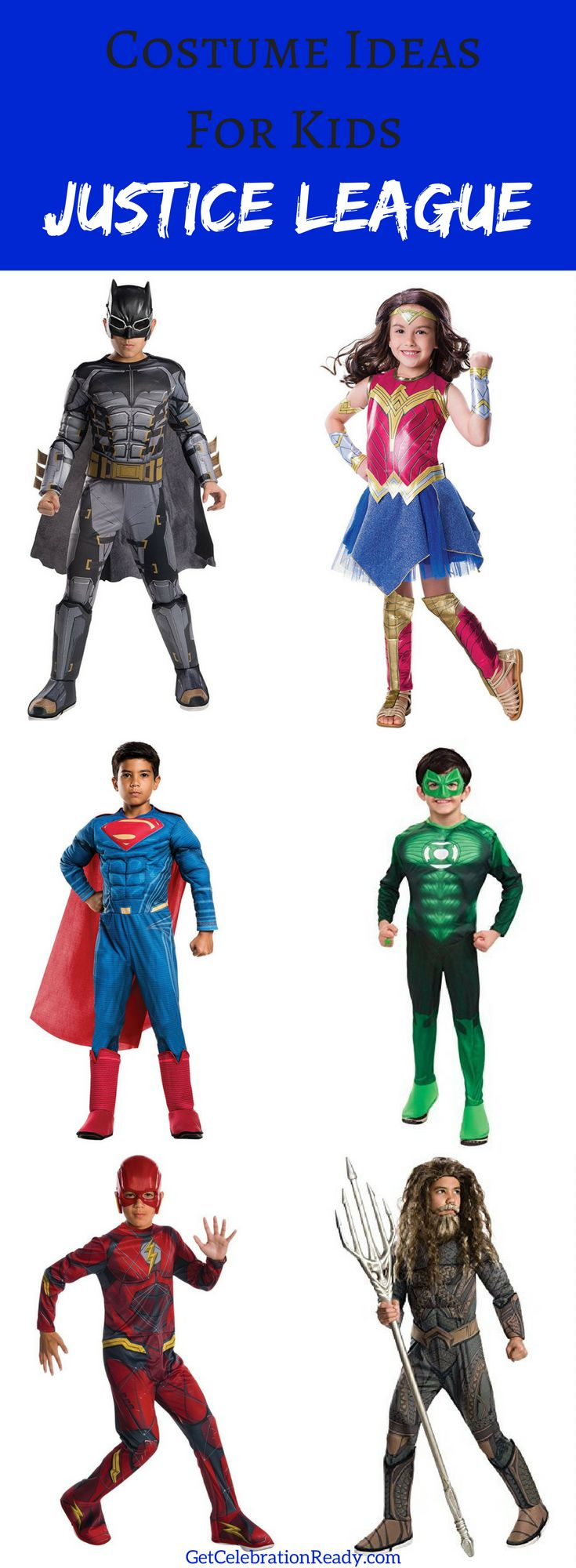 Justice League is a perfect idea for kids costumes this Halloween. Dress siblings as different Justice League superhero characters and keep everyone in the same theme. Great Halloween costumes for babies, toddlers, kids and teens.