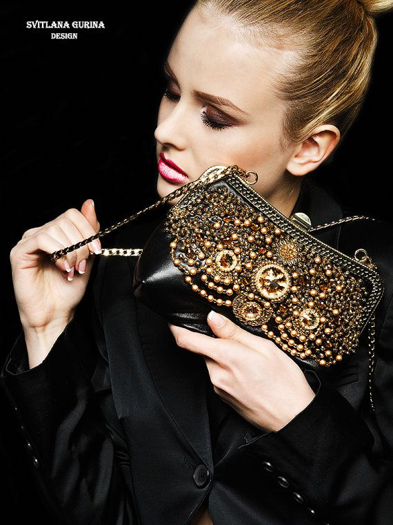 Handbag Evening handbag gold and black by SvitlanaGurinaArt