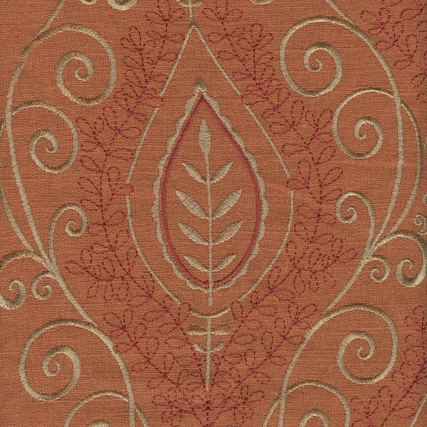 this is a soliddeep orangelinen fabric with gold embroidered floral design drapery fabric it is