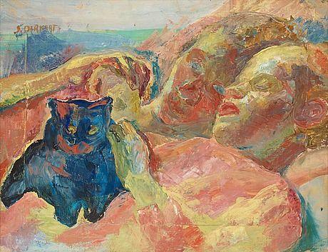 """Siri Derkert 1888-1973  """"Två och en kattunge"""""""