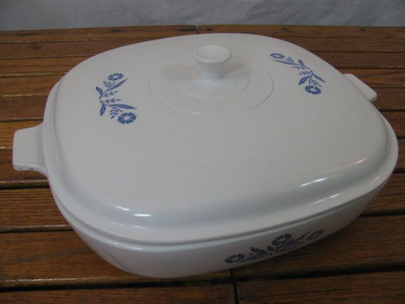 Corning Ware Cornflower Blue Covered Casserole White Lid Square 1950s on Etsy, $20.00