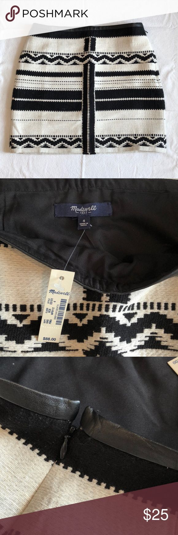 Madewell Black Gamine Mini Skirt In Geo Jacquard Super cute size 4 mini skirt - NEVER WORN, NEW WITH TAGS! Features beautiful black and white pattern and leather trim. Side zipper with hook and eye closure. Madewell Skirts Mini