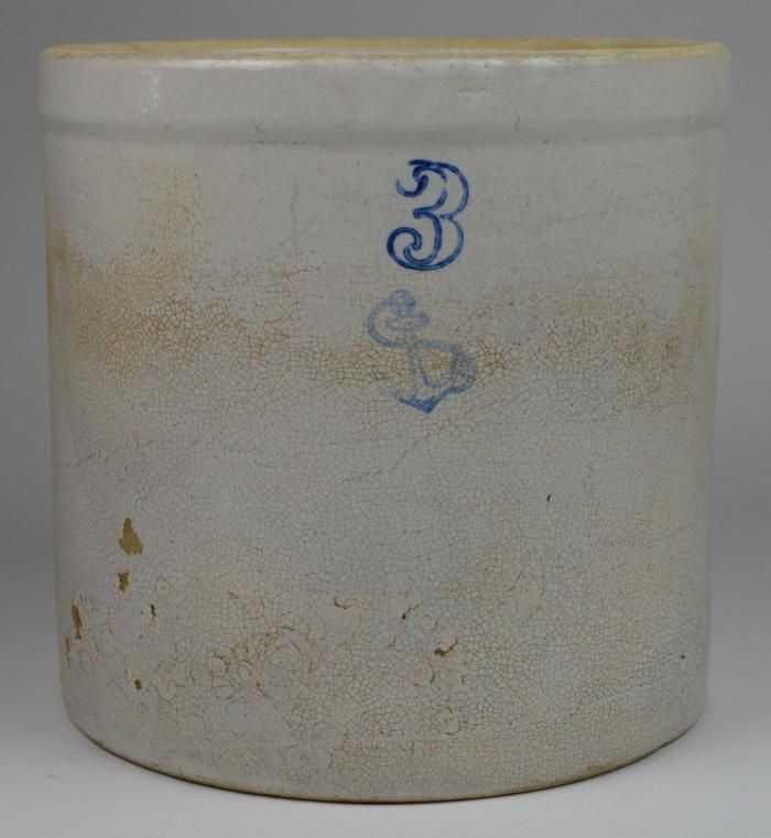 Vintage Stoneware Blue Anchor 3 Gallon Beige Crock 10 75