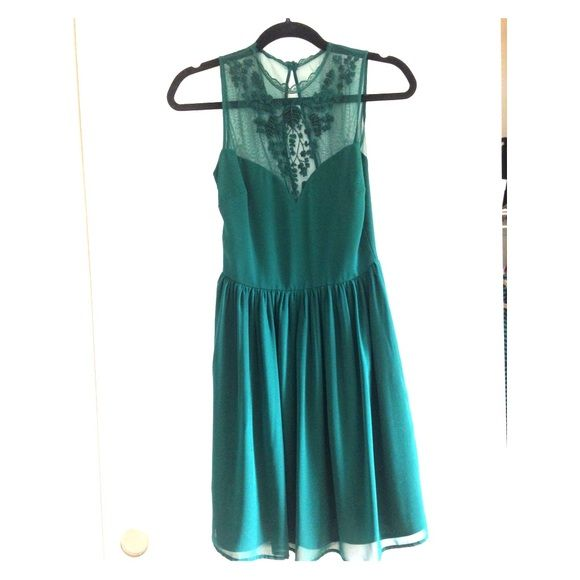 Emerald Green Cocktail Dress Chiffon dress with emerald beading detail PRICE IS FIRM Zara Dresses