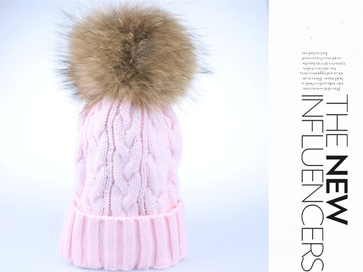 fox fur pompom hat knitted real mink hat Winter Hat For Women Girls Wool Hat Knitted Cotton Beanies Cap