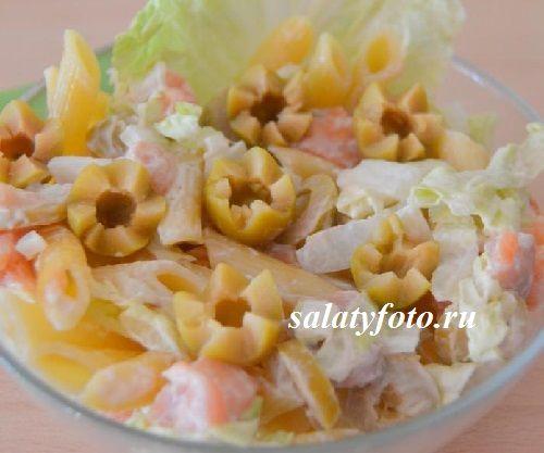Итальянский салат с макаронами пенне и семгой, рецепт приготовления с фото
