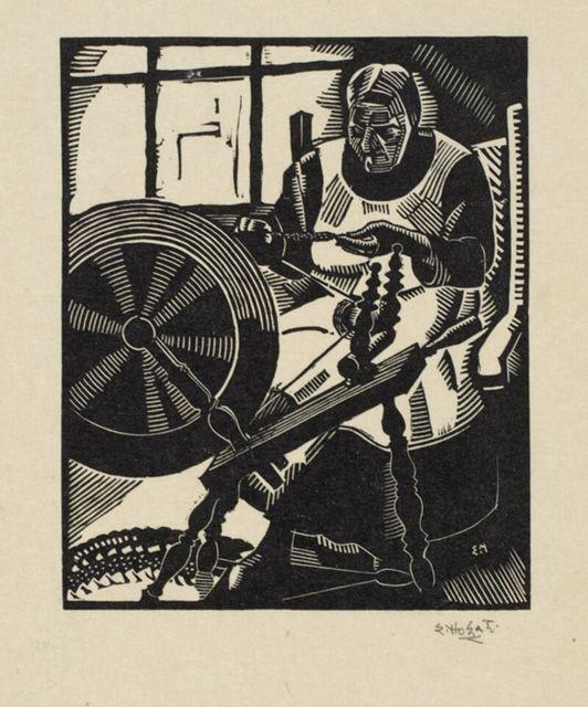 "Many of Edwin Holgate's wood engravings of the period depict lumberjacks, blacksmiths, and weavers in rural settings. Holgate, ""The Spinning Wheel,"" 1928. #ArtCanInstitute"