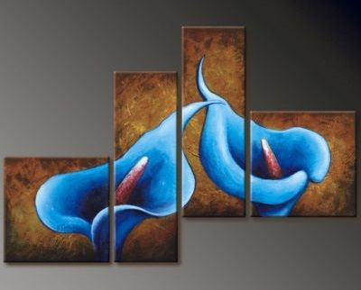 4194 handpainted 4 pieces modern oil painting on canvas wall art pictures for home decor as unique gift brown blue calla lily $46.00