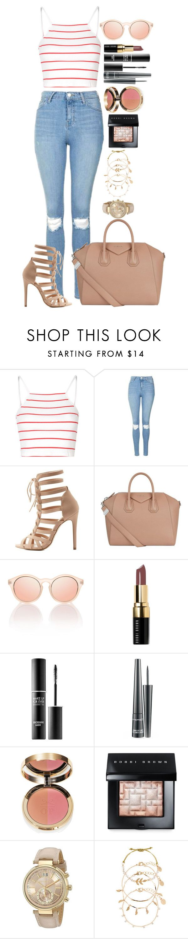 """""""Untitled #1504"""" by fabianarveloc on Polyvore featuring Glamorous, Topshop, Charlotte Russe, Givenchy, Bobbi Brown Cosmetics, MAKE UP FOR EVER, MAC Cosmetics, Ciaté, Michael Kors and Accessorize"""