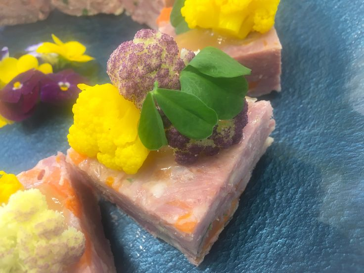 Smoked Hamhock terrine with Mango chutney and pickled Cauliflowers #princeofchefs