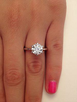 2 00 Ct Round Cut D VS1 Diamond Solitaire Engagement Ring 14k White Gold | eBay