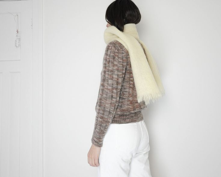 Vintage Mohair Scarf in Cream / Long http://etsy.me/2n3gV9J #accessories #scarf #mohair #tonamievintage