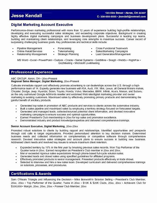 Advertising Account Executive Resume Inspirational Marketing Account Executive Resume Learn More About Vid Marketing Resume Executive Resume Job Resume Samples