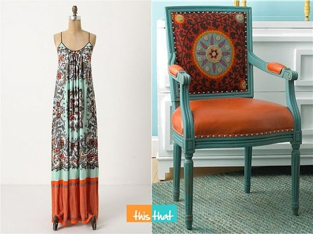 Anthropologie dress and Suzani chair - LOVE teal and orange!