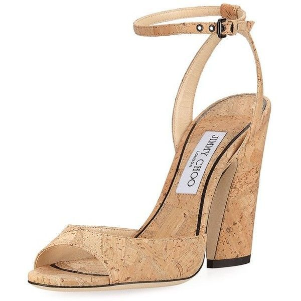 Jimmy Choo Miranda Cork AnkleWrap Sandal (€610) ❤ liked on Polyvore featuring shoes, sandals, high heels, red, red shoes, strappy block heel sandals, strappy high heel sandals, red high heel sandals and red strappy sandals