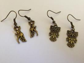 New vintage copper tone set earrings deers set with champagne coloured vintage swarovski crystals $20; owl earrings $8 pr - postage extra if required