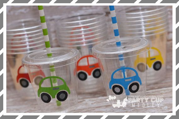 Transportation Birthday Party Cups-Party Favor Cups-Popcorn Favors-Souvenir Cup