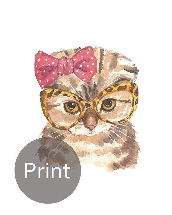 Fold escocés gato imprimir acuarela  impresión 5 x 7 gato