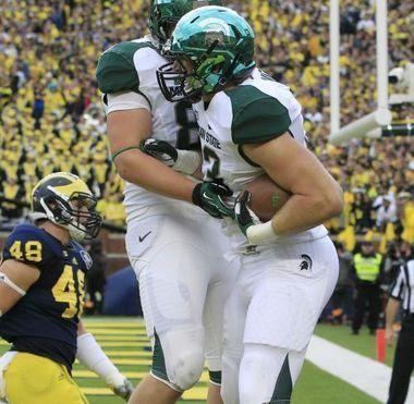 Michigan State tight end celebrates scoring