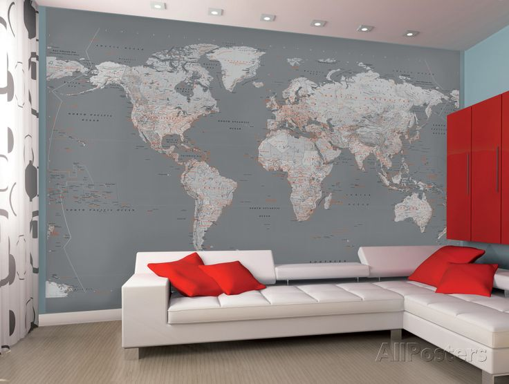 Contemporary Grey World Map Wallpaper Mural Wallpaper Mural at AllPosters.com
