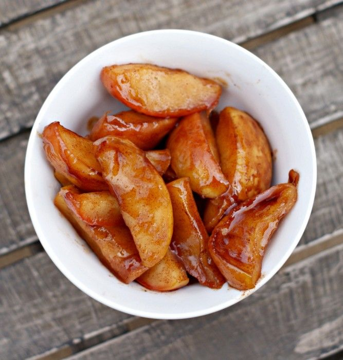 Cook these cinnamon & sugar apples in a slow cooker or pressure cooker. Perfect for a snack or dessert!