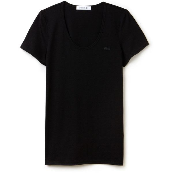 Lacoste Women's Wide Neck Flowing Jersey Blend T-shirt ($50) ❤ liked on Polyvore featuring tops, t-shirts, lacoste t shirt, lacoste, wide neck tee, jersey tee and lacoste tops