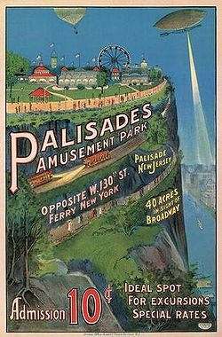 Palisades Amusement Park was an amusement park located in Bergen County, New Jersey, across the Hudson River from New York City. It was situated atop the New Jersey Palisades lying partly in Cliffside Park and partly in Fort Lee. The park operated from 1898 until 1971, remaining one of the most visited amusement parks in the country near the end of its existence.