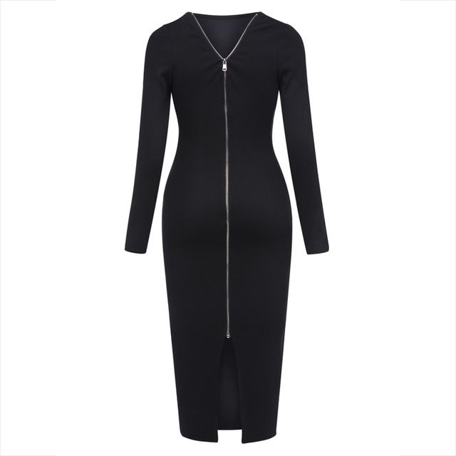 Sale Price $18.54, Buy Young17 Autumn Dress Women 2017 Work Black Backless Zipper Office Mid-Calf O-Neck Knitted Work Dress Fall Bodycon Dress