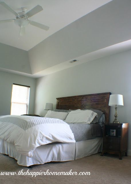 Phase 1 Master Bedroom Makeover The Happier Homemaker Paint Color Alaskan Husky Benjamin