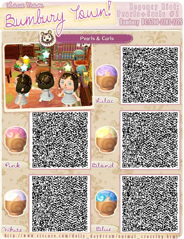 animal crossing QR codes - hair pearls and curls 2