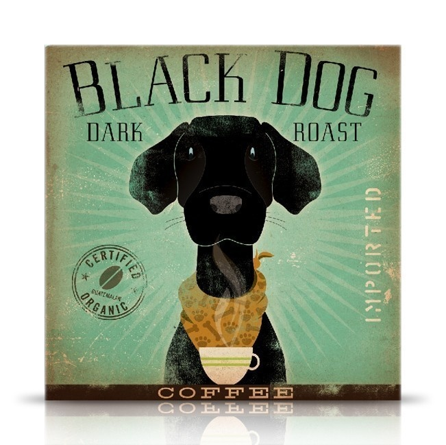 Black Dog Coffee black labrador original graphic illustration on canvas 12 x 12 by stephen fowler