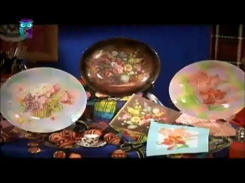 """Обратный декупаж. Декорируем тарелки в технике """"дымка"""". Мастер класс. Наташа Фохтина - YouTube"""