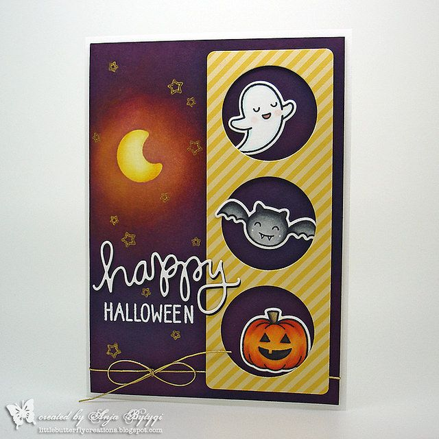 Halloween Cards To Make Ideas Part - 49: Lawn Fawn U2022 Spooktacular U2022 Happy Halloween Card By Little Butterfly  Creations (using Letu0027s Polka
