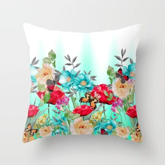 Throw Pillow made from 100% spun polyester poplin fabric, a stylish statement… #flowers #art #butterflies #homedecor