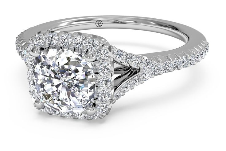 French-Set Halo Diamond 'V' Band Engagement Ring - in Platinum (0.23 CTW) with a 1.33 Carat, Cushion Diamond