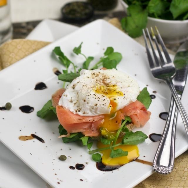 Eggs Hemingway, sans Hollandaise… with extra greens, please!  --  http://Gormaya.com/recipe-timer.html  Recipe Timer iPhone app has simple Egg recipes!