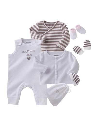 Canastilla primeros días bebé prematuro a 18 meses BLANCO CLARO LISO+BEIGE MEDIO LISO+ROSA CLARO LISO