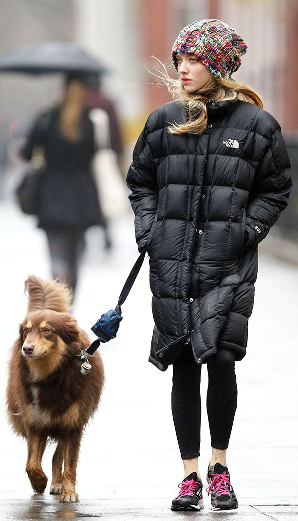 Amanda Seyfried takes her dog for a walk in New York City (in North Face jacket) (Jan 2013)