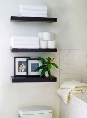 Hang floating shelves instead of a bulky storage cabinet.