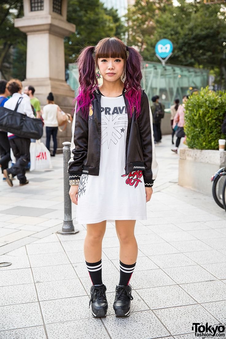 Marina on the street in Harajuku with dip dye twin tails, satin jacket and dress by Candy Stripper, and Jouetie platform sneakers.
