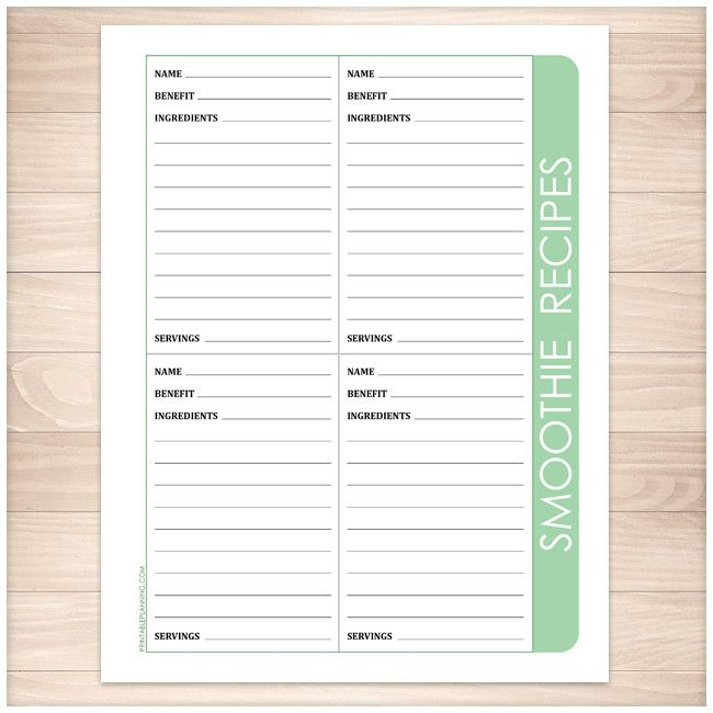 Smoothie Recipe Pages - 4 per page Green - Printable